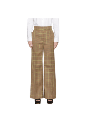 MSGM Brown Check Trousers