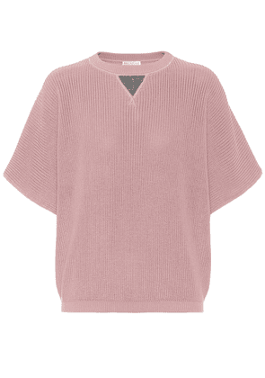 Embellished ribbed-knit cotton sweater