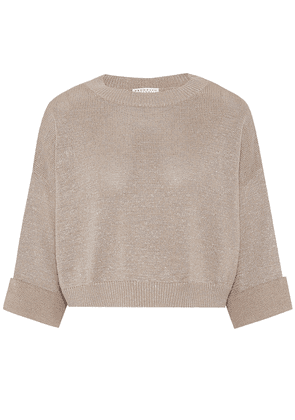 Cropped cotton-blend sweater