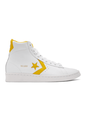 Converse White and Yellow Leather Pro Mid Sneakers