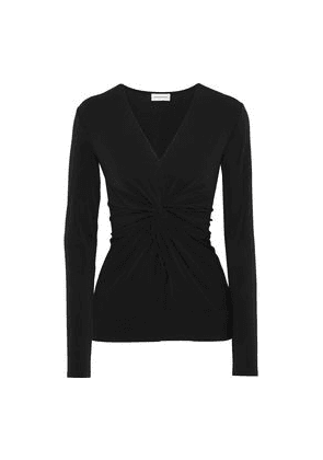 By Malene Birger Sulana Twist-front Stretch-crepe Top Woman Black Size S