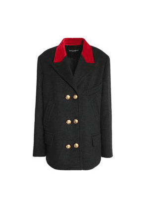 Dolce & Gabbana Double-breasted Velvet-trimmed Wool And Cotton-blend Jacket Woman Charcoal Size 38