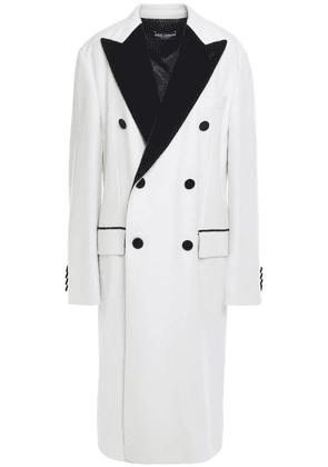 Dolce & Gabbana Double-breasted Velvet-trimmed Cashmere And Cotton-blend Coat Woman Ivory Size 44
