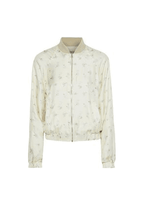 Elizabeth And James Jacque Floral-print Silk-twill Bomber Jacket Woman Cream Size XS