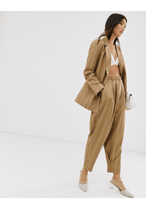 ASOS DESIGN camel stripe mansy suit tapered trousers-Multi