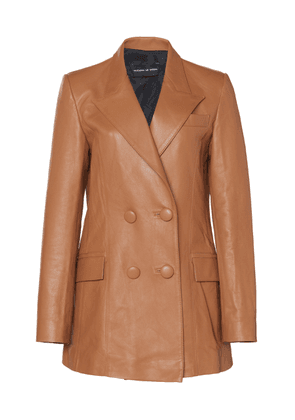 Michael Lo Sordo Oversized Double-Breasted Leather Blazer