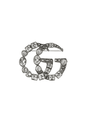 Gucci Crystal Double G brooch - SILVER
