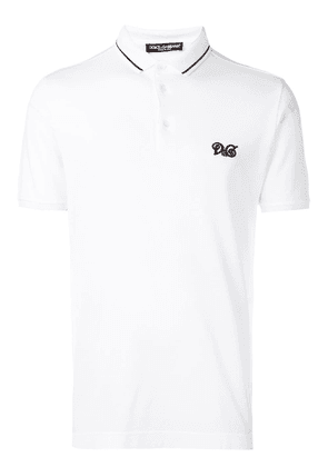 Dolce & Gabbana embroidered logo polo T-shirt - White