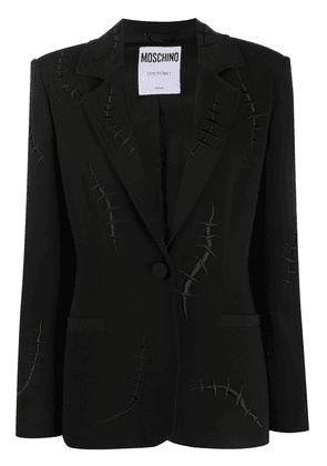 Moschino embroidered stitch-motif blazer jacket - Black