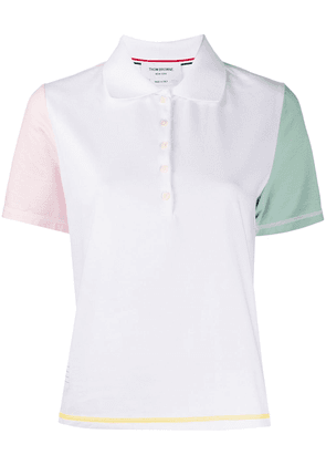 Thom Browne contrasting sleeves polo shirt - White