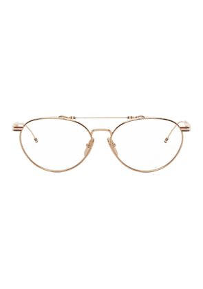 Thom Browne Gold Round Metal Glasses
