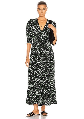 RIXO Zadie Dress in Black & Cream Ditsy Floral - Black,Floral. Size XS (also in S,M).