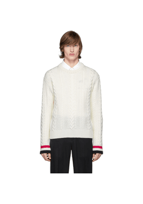 Thom Browne Off-White Merino Aran Cable Sweater
