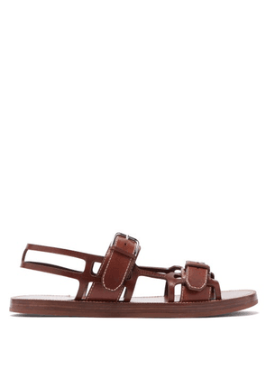 Burberry - Caged Contrast-stitch Leather Sandals - Mens - Tan