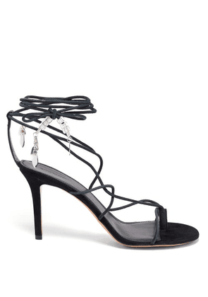Isabel Marant - Askee Bead-embellished Rope And Suede Sandals - Womens - Black
