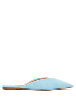 Midnight 00 - Midnight Backless Tulle & Leather Loafers - Womens - Light Blue