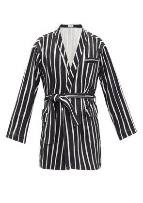 Commas - Belted Striped Cotton Robe - Mens - Black White