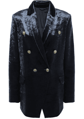 Brunello Cucinelli Double-breasted Cotton-blend Crushed-velvet Blazer Woman Anthracite Size 42