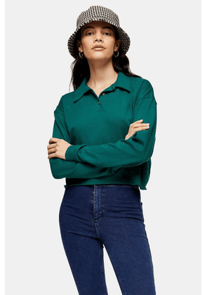 Womens Green Long Sleeve Rugby Polo - Green, Green