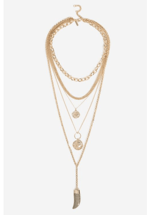 Womens **Mega Layered Coin Horn Necklace - Gold, Gold