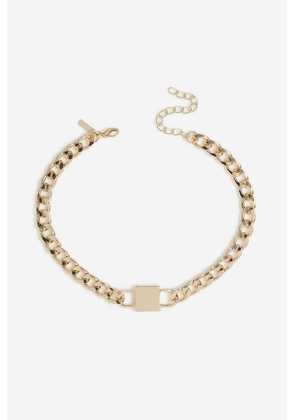 Womens **Lock Chain Choker Necklace - Gold, Gold