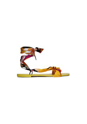 Emilio Pucci Knotted Printed Silk-twill Sandals Woman Bright yellow Size 38