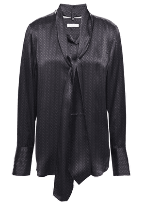 Equipment Luis Pussy-bow Printed Silk-satin Blouse Woman Black Size XS