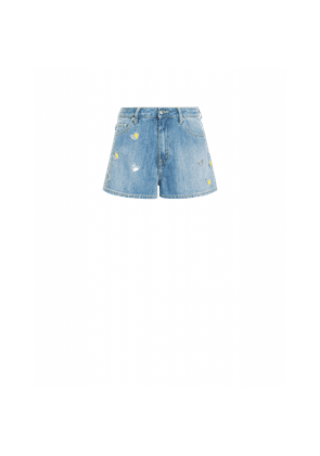 Stretch Denim Shorts With Hearts