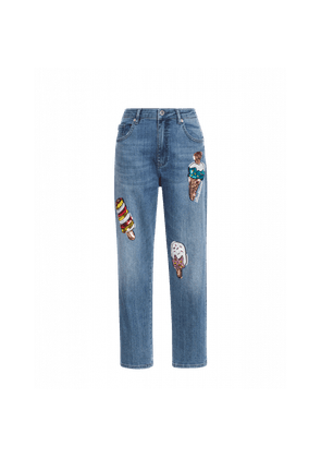 Jeans With Ice Cream Embroidery