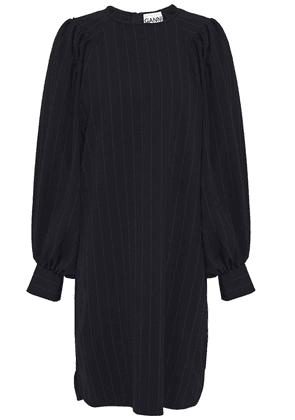 Ganni Pinstriped Stretch-crepe Mini Dress Woman Navy Size 34