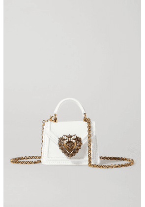 Dolce & Gabbana - Devotion Micro Embellished Leather Shoulder Bag - White