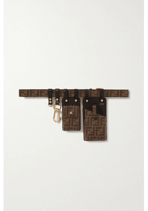 Fendi - Printed Coated-canvas And Leather Belt - Brown