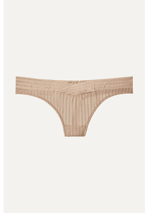 ELSE - Embroidered Stretch-jersey Thong - Beige