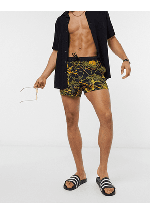 ASOS DESIGN swim shorts with print in black short length