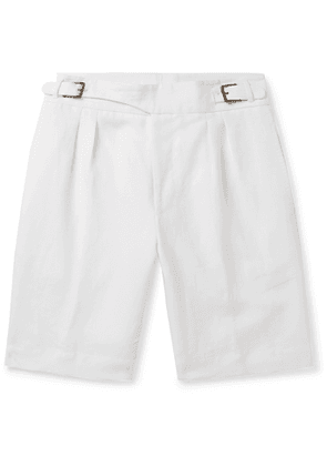 Anderson & Sheppard - Pleated Linen Shorts - Men - White