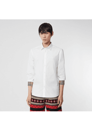 Burberry Embroidered EKD Stretch Cotton Poplin Shirt, White