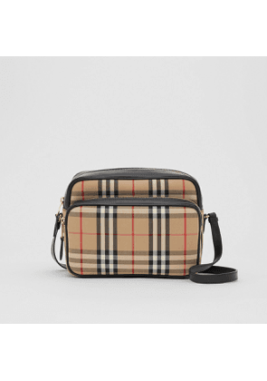 Burberry Medium Vintage Check and Leather Camera Bag, Beige