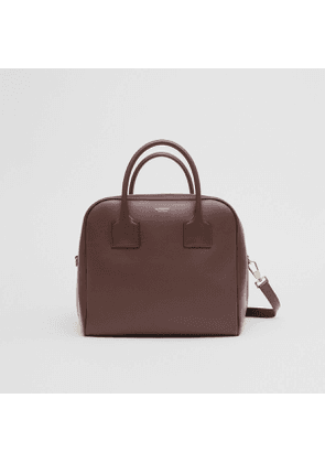 Burberry Medium Leather and Suede Cube Bag, Brown