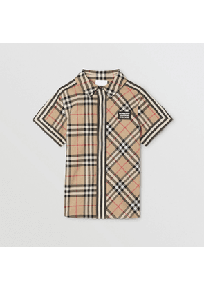 Burberry Childrens Short-sleeve Vintage Check Patchwork Cotton Shirt, Beige