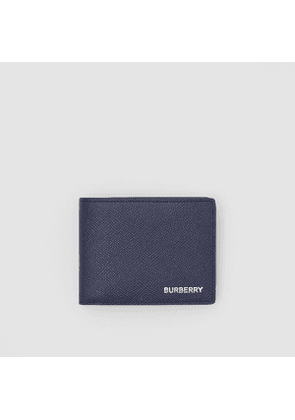Burberry Grainy Leather Bifold Wallet, Blue