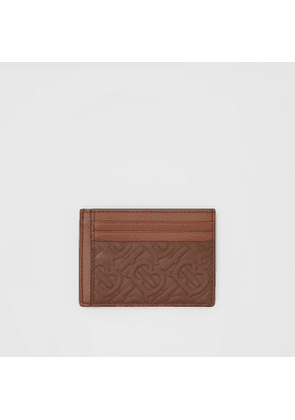Burberry Monogram Leather Money Clip Card Case, Brown