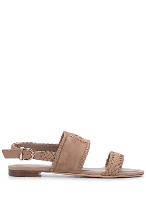 Tod's braid-detail flat sandals - NEUTRALS