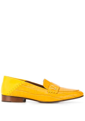 L'Autre Chose embossed crocodile-effect loafers - Yellow