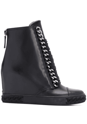 Casadei wedge lace up boots - Black