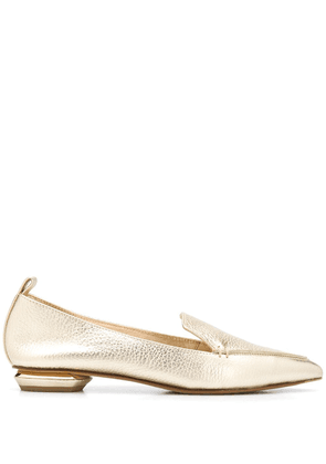 Nicholas Kirkwood pointed leather loafers - GOLD