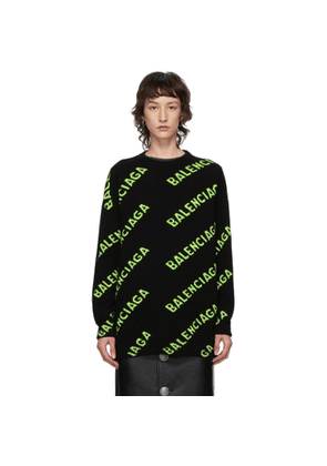 Balenciaga Black and Green All Over Logo Sweater