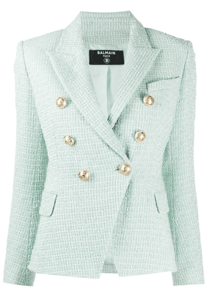 Balmain double-breasted tweed jacket - Green