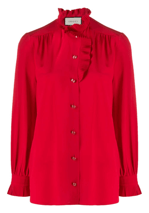 Gucci pleated trim buttoned blouse - Red