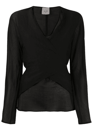 Alysi wrap-style front tie back blouse - Black