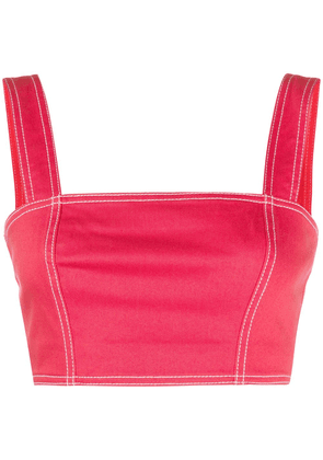 Balmain cropped bustier top - Red